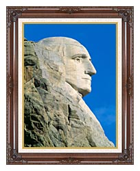 Visions of America George Washington On Mount Rushmore canvas with dark regal wood frame