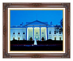 Visions of America White House In Evening Washington DC canvas with dark regal wood frame