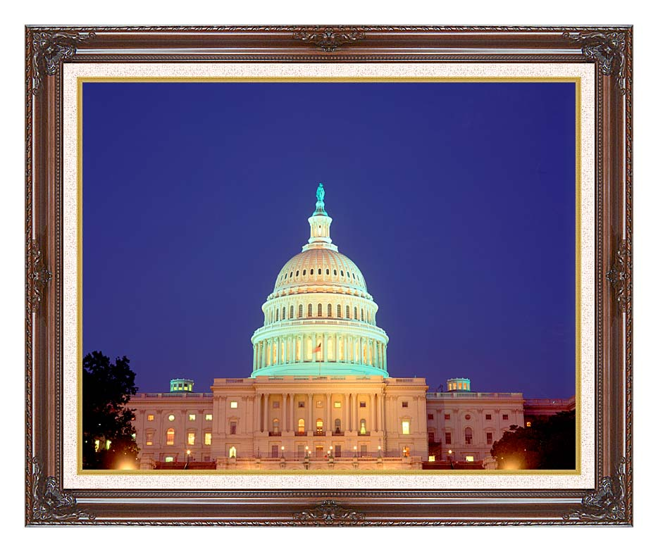 Visions of America U S Capitol Building at Night, Washington, D C with Dark Regal Frame w/Liner