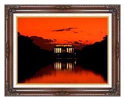 Visions of America Lincoln Memorial At Sunset With Red Sky canvas with dark regal wood frame
