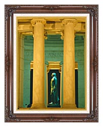 Visions of America Statue Of Thomas Jefferson Washington D C canvas with dark regal wood frame