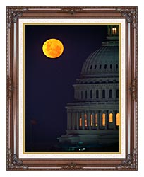 Visions of America Full Moon Over U S Capitol In Washington D C canvas with dark regal wood frame
