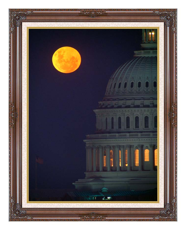 Visions of America Full Moon over U S Capitol in Washington, D C with Dark Regal Frame w/Liner