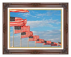 Visions of America American Flags At Washington National Monument canvas with dark regal wood frame