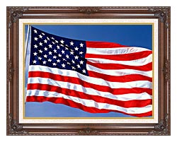 Visions of America American Flag Blowing In The Wind With A Blue Sky canvas with dark regal wood frame
