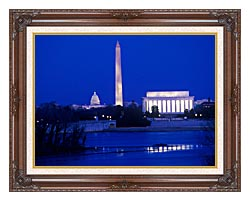 Visions of America Lincoln And Washington Monuments And U S Capitol canvas with dark regal wood frame
