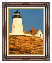 Visions of America Pemaquid Lighthouse Maine canvas with dark regal wood frame