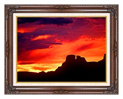 Visions of America Indian Ruins Chaco Canyon At Sunset New Mexico canvas with dark regal wood frame
