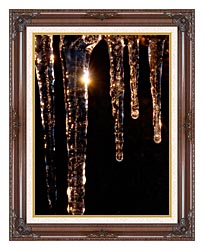 Visions of America Close Up Of Icicles Acadia National Park Maine canvas with dark regal wood frame
