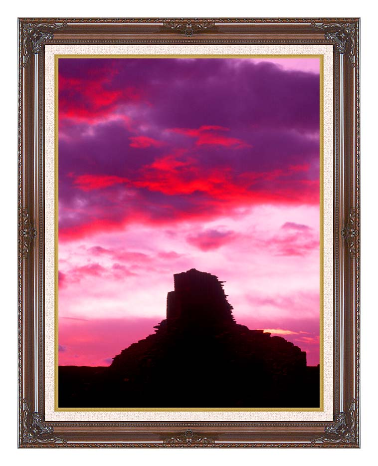 Visions of America Indian Ruins at Sunset, Chaco Canyon, New Mexico with Dark Regal Frame w/Liner
