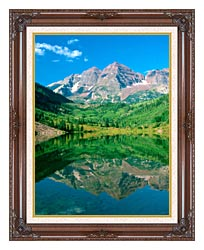 Visions of America Maroon Bell Mountain And Maroon Lake Colorado canvas with dark regal wood frame