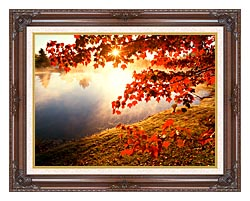 Visions of America Misty Pond With Autumn Leaves In Connecticut canvas with dark regal wood frame