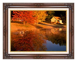 Visions of America Wood Shed On Lake In Autumn Connecticut canvas with dark regal wood frame