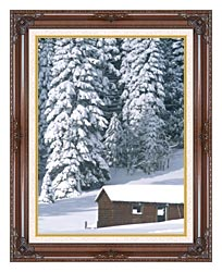 Visions of America Snow Covered Wooden Cabin In Forest California canvas with dark regal wood frame