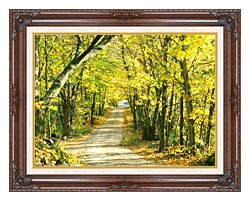 Visions of America Tree Covered Road In The Woods New England canvas with dark regal wood frame