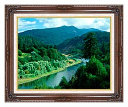 Visions of America Rogue River In Southern Oregon canvas with dark regal wood frame