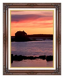 Visions of America House Silhouette At Sunrise Mt Desert Island Maine canvas with dark regal wood frame
