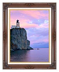 Visions of America Lighthouse Split Rock Minnesota canvas with dark regal wood frame