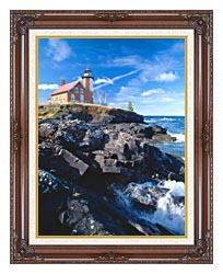 Visions of America Eagle Harbor Lighthouse Michigan canvas with dark regal wood frame