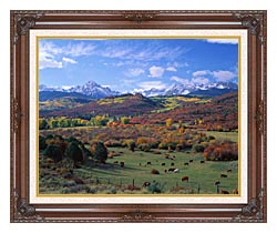 Visions of America Sneffels Mountain Range Colorado canvas with dark regal wood frame
