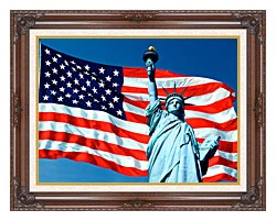 Visions of America American Flag And The Statue Of Liberty canvas with dark regal wood frame
