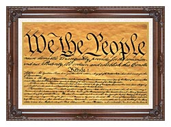 Visions of America Preamble To The U S Constitution   We The People canvas with dark regal wood frame
