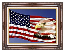 Visions of America American Flag  And A Bald Eagle canvas with dark regal wood frame