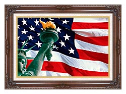 Visions of America Statue Of Liberty And American Flag canvas with dark regal wood frame