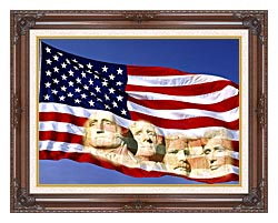 Visions of America American Flag And Mount Rushmore Presidents canvas with dark regal wood frame