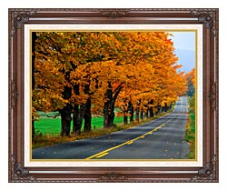 Visions of America An Autumn Road In New England canvas with dark regal wood frame