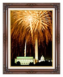 Visions of America Fourth Of July Celebration With Fireworks Exploding Over The Lincoln Memorial Washington Monument And U S Capitol Washington D C canvas with dark regal wood frame