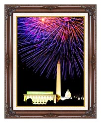 Visions of America Patriotic Fourth Of July Celebration With Fireworks canvas with dark regal wood frame