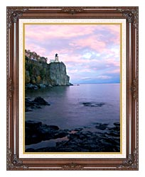 Visions of America Split Rock Lighthouse On Lake Superior canvas with dark regal wood frame