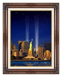 Visions of America World Trade Center Light Memorial canvas with dark regal wood frame