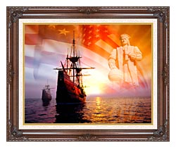 Visions of America Christopher Columbus American Flag Sailing Ships canvas with dark regal wood frame