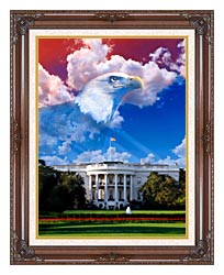 Visions of America The White House With American Eagle canvas with dark regal wood frame