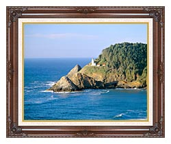 Visions of America Heceta Lighthouse Oregon canvas with dark regal wood frame