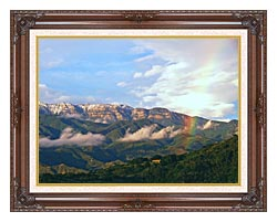 Visions of America Rainbow Over Topa Topa Mountains In Ojai California canvas with dark regal wood frame