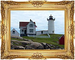 Brandie Newmon Nubble Lighthouse York Maine canvas with Majestic Gold frame