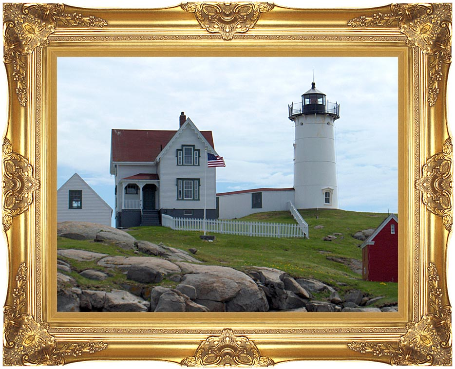 Brandie Newmon Nubble Lighthouse, York Maine with Majestic Gold Frame