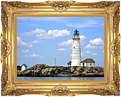 Brandie Newmon Boston Lighthouse Little Brewster Island Massachusetts canvas with Majestic Gold frame