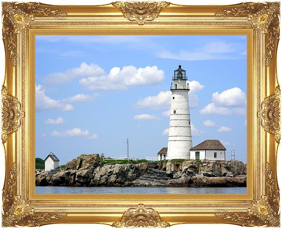 Brandie Newmon Boston Lighthouse, Little Brewster Island Massachusetts with Majestic Gold Frame