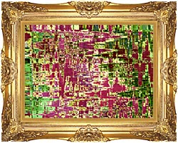 Brandie Newmon Maroon And Green Abstract canvas with Majestic Gold frame