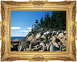 Brandie Newmon Bass Harbor Head Lighthouse canvas with Majestic Gold frame