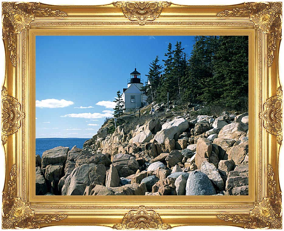 Brandie Newmon Bass Harbor Head Lighthouse with Majestic Gold Frame