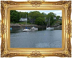 Brandie Newmon Fishing Boats In Ogunquit Maine canvas with Majestic Gold frame