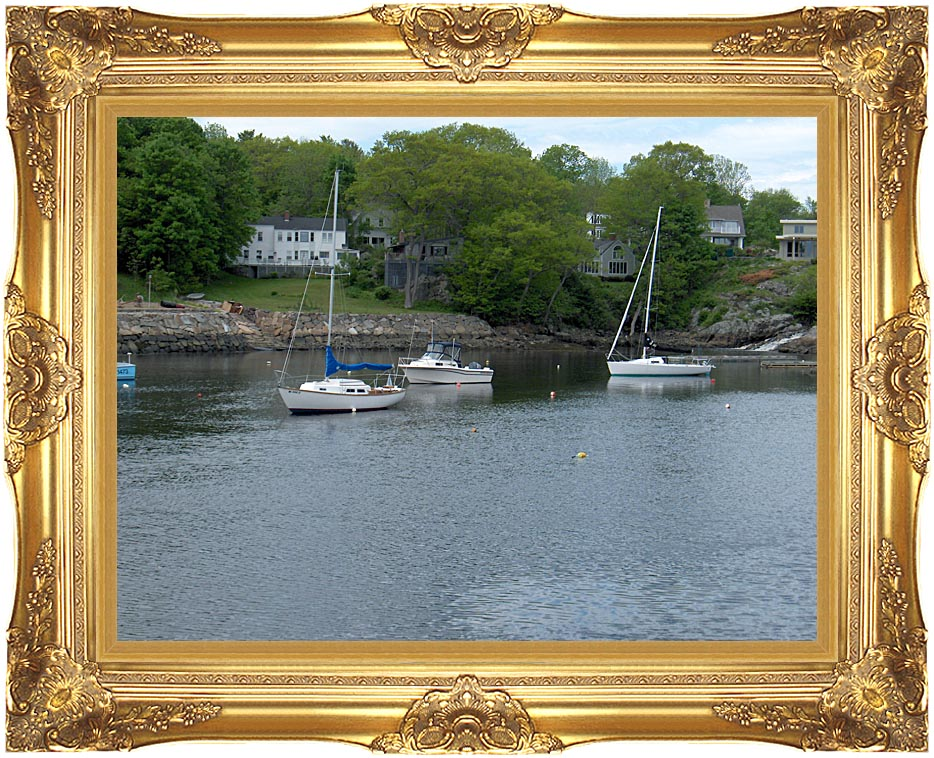 Brandie Newmon Fishing Boats in Ogunquit, Maine with Majestic Gold Frame