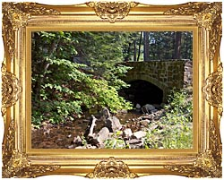 Brandie Newmon Rock Bridge At Mount Tom Massachusetts canvas with Majestic Gold frame