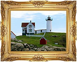 Brandie Newmon Cape Neddick Lighthouse York Maine canvas with Majestic Gold frame