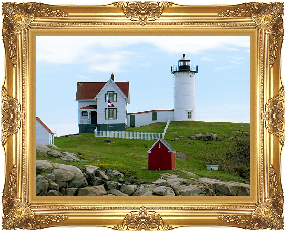 Brandie Newmon Cape Neddick Lighthouse, York Maine with Majestic Gold Frame